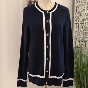 Brooks Brothers 360 Navy Cardigan w/White Trim
